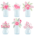 Pink Flowers In Jars vector image vector image