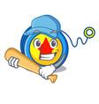 playing baseball yoyo character cartoon style vector image