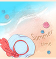postcard print beach summer party with a hat and vector image vector image