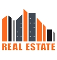 real estate symbol with many skyscraper vector image vector image