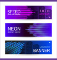 set horizontal dark banners with glowing vector image