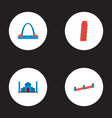 set of monument icons flat style symbols with taj vector image