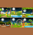 set of playground scene at night vector image vector image