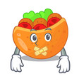 silent pita bread filled with vegetable mascot vector image vector image