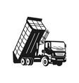 silhouette dump truck design vector image vector image