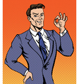 Successful Man in Pop Art Style Gesturing Okay vector image vector image