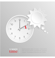 Summer time change clock with sun speech bubble vector image