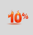ten percent discount numbers on fire vector image