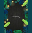 tropical garden with light party at night frame vector image