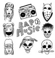 urban street hip hop music girl boy skull rapper vector image vector image