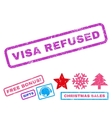 Visa Refused Rubber Stamp vector image vector image