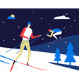 winter sports skiing - flat design style colorful vector image