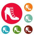 woman shoes icons circle set vector image vector image