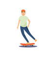 young guy in a helmet rides a skateboard and vector image vector image