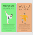 asian martial arts taekwondo and wushu vector image vector image
