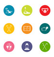 Attending physician icons set flat style