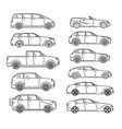 car body style passenger coupe outline pickup vector image