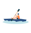 cartoon man kayaking in river in blue kayak vector image vector image