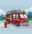 cartoon of firefighter truck vector image vector image