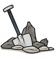 cartoon shovel in gray stones icon vector image vector image