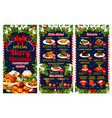 christmas restaurant menu of winter holiday dinner vector image vector image