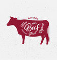 cow silhouette and hand written lettering words vector image vector image