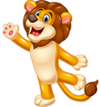 Cute lion waving hand vector image vector image