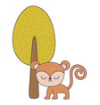 cute monkey animal with tree plant vector image vector image