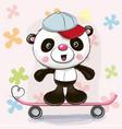 cute panda with skateboard vector image