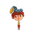 cute scientist boy character working on physics vector image vector image