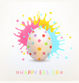 easter greeting card with painted egg and bright vector image vector image