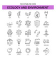 ecology and enviroment line icon set - 25 dashed vector image