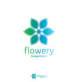 elegant flower logo icon design with green blue vector image vector image