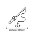 fishing rod and reel linear icon vector image