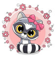 greeting card raccoon girl with flowers vector image vector image