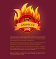 grill barbeque party poster burning fire grate vector image