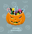 halloween pumpkin with candies scary basket vector image