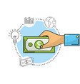 hand with bill cash money and business icons vector image vector image