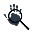 handprint with magnifying glass icon personal vector image vector image