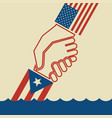 hurricane relief for puerto rico helping hand vector image vector image