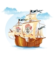 Image caravel ship pirates XV century vector image
