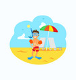 kid wearing special equipment diving snorkelling vector image vector image