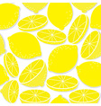 Lemon seamless background isolated on white vector image vector image