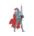 medieval knight brave chivalry warrior character vector image vector image