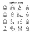 mother mom icon set in thin line style vector image vector image