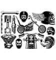 motorcycle clipart with 12 elements on white