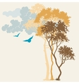 Nature background trees and clouds composition vector image vector image