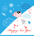 new year greeting card with piglet vector image vector image