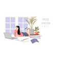online education concept with a girl vector image