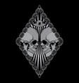 print head skull t shirt design vector image vector image